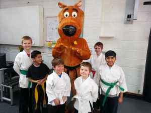 Scooby takes the junior karate session at Whitetiger Training Oadby